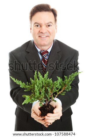 Businessman holding a bonsai tree, symbolizing partnership between business and environment.