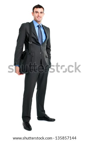 Businessman holding a briefcase full length portrait