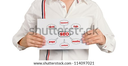 businessman holding a chart of seo