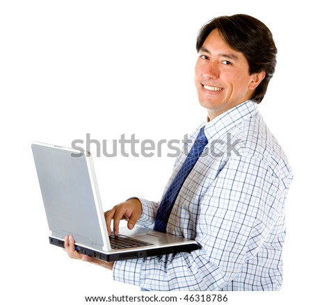 Businessman holding a computer isolated on white