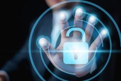 Businessman holding a Digital fingerprint identification for unlock. , Fingerprint scan provides security access with biometrics identification. Business Technology Safety Internet Concept.