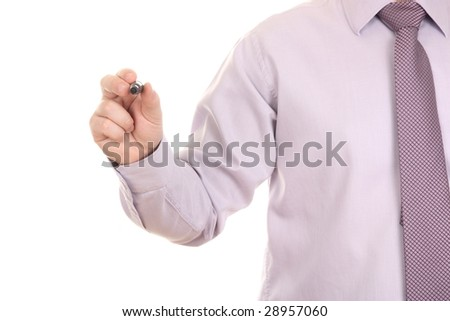 Businessman holding a marker, isolated on a white background with space for text