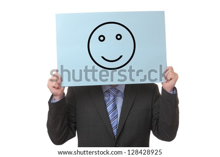 Businessman holding a paper with a positive smiley on white background