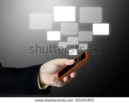 Businessman holding a phone