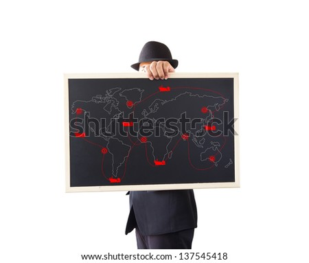 Businessman holding a sign. Transportation by ship.