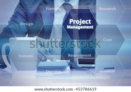 Businessman holding a tablet and working on the work place for Project management process virtual screen background, Business success concept