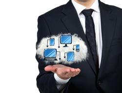 Businessman holding a technological cloud