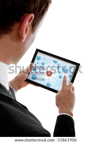 Businessman holding a touchpad pc and surfing in the social network, isolated on white