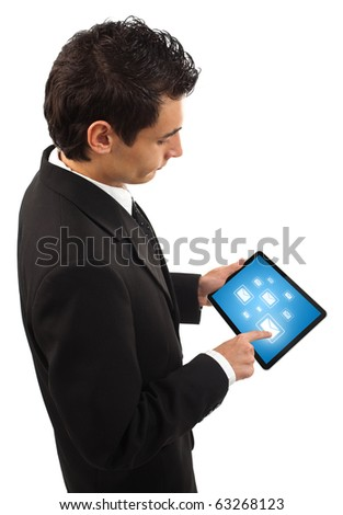 Businessman holding a touchpad pc, one finger touches e-mail symbol, isolated on white