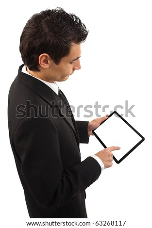 Businessman holding a touchpad pc, one finger touches the screen, isolated on white