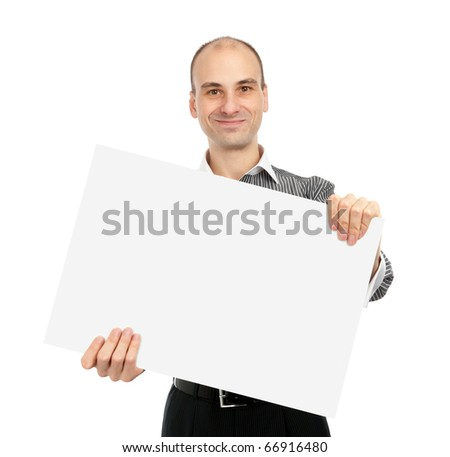 Businessman holding a white board, isolated on white background