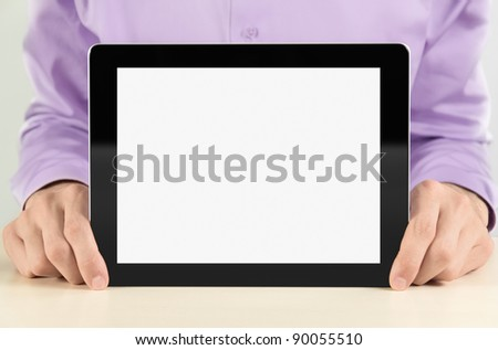 Businessman holding and showing black digital frame with blank screen. - stock photo