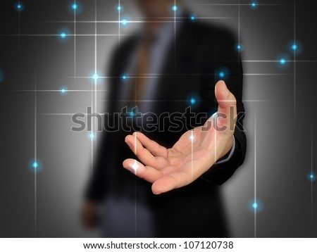 Businessman holding blank