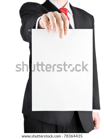 Businessman holding blank card - vertical view