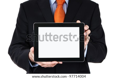 Businessman holding blank digital tablet with clipping path for the screen