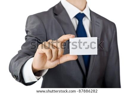 Businessman holding blank message
