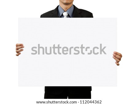 businessman holding blank sign on white