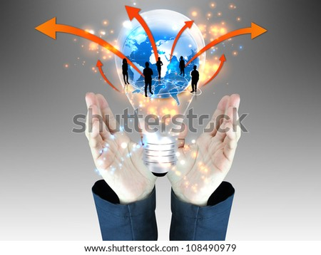 businessman holding business team