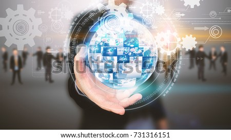 Businessman holding business world with team. #731316151