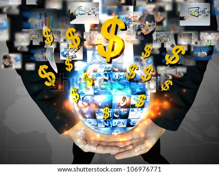 businessman holding business world with US dollar sign