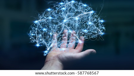 Photo of  Businessman holding digital human brain with cell and neurons activity 3D rendering