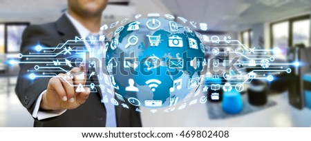businessman holding digital web ...