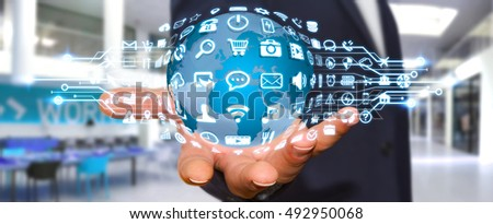 Businessman holding digital web earth with modern icons 3D rendering