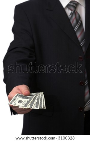 Businessman holding five banknotes of american dollars