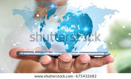 Businessman holding global network and data exchanges over his phone 3D rendering