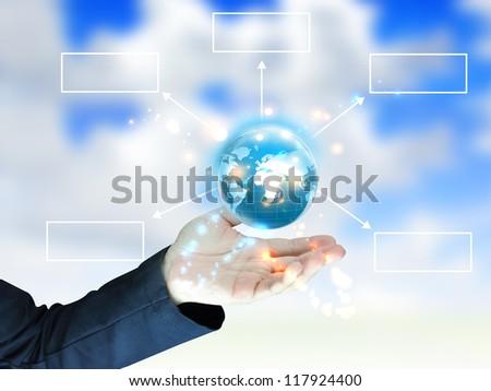 businessman holding globe diagram