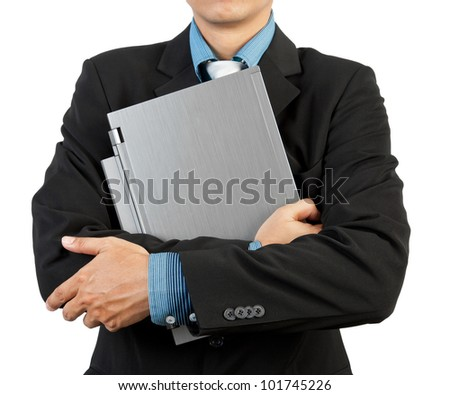 Businessman holding his laptop