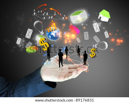 businessman holding ideas.Conceptual