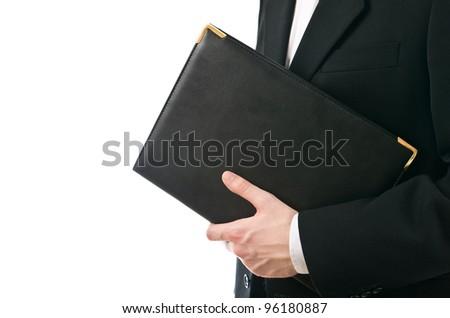 Businessman holding leather document folder isolated on white