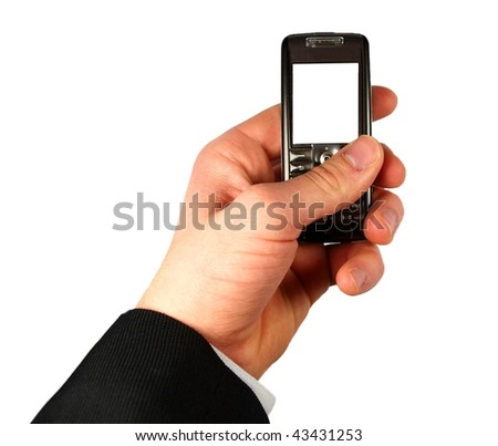 Businessman holding mobile phone on white background