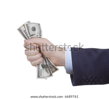 Businessman holding money against white background