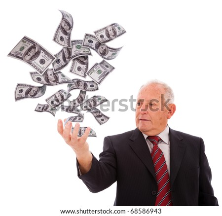 businessman holding money with his hand (isolated on white)