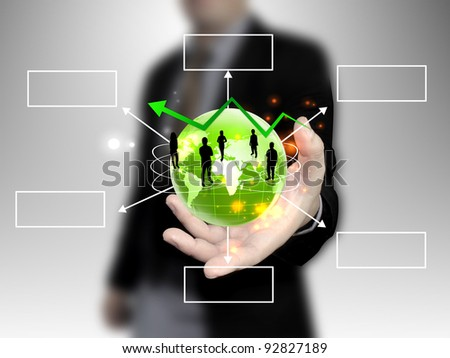 businessman holding people team with world