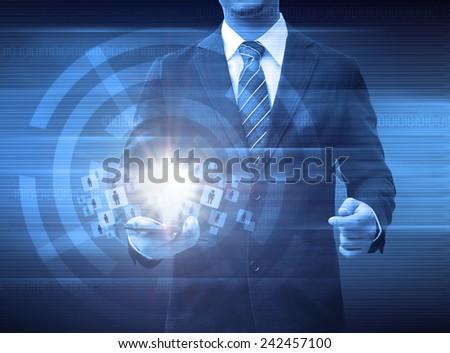 businessman holding smartphone world technology social media