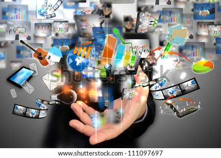 Businessman holding social media - stock photo