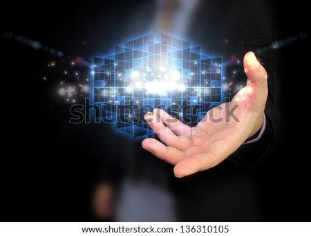 Businessman holding social media #136310105