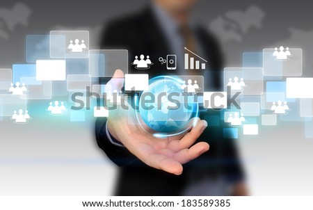 businessman holding social network concept.