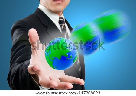 Businessman holding social network in the world - stock photo