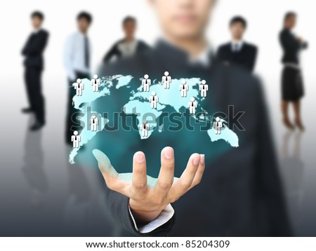 Businessman holding social network map