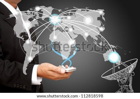 Businessman holding  social network structure