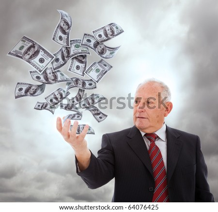 businessman holding something with his hand (isolated on white) - stock photo