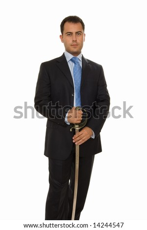 businessman holding sword and ready to fight