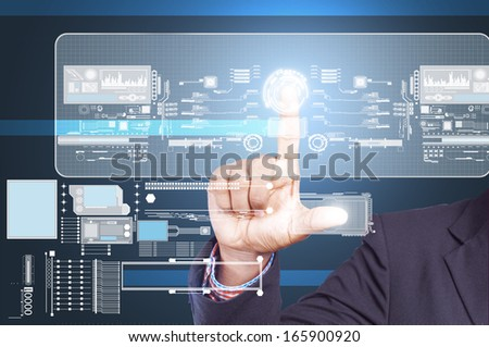 Businessman holding touch screen #165900920