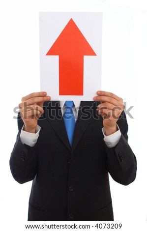 businessman holding upside arrow on white