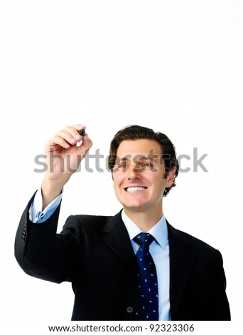 Businessman holds a marker and writes in air, suitable to add your own graph