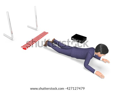 Businessman Hurdle Showing Lack Of Success And Chalenges Ahead 3d Rendering